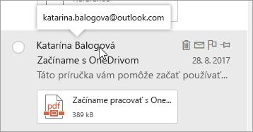 Snímka obrazovky s kurzorom nad menom odosielateľa