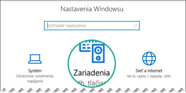 V dialógovom okne Nastavenia vo Windowse vyberte položku Zariadenia