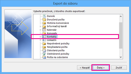 Outlook Export Wizard - Choose Contacts
