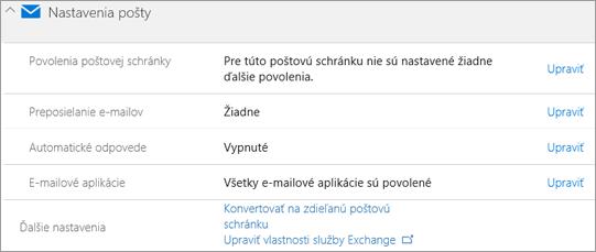 Snímka obrazovky: Office 365 e-mailu