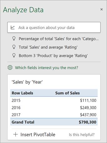 Tabla Analyzovať údaje zobrazujúca prispôsobené návrhy.