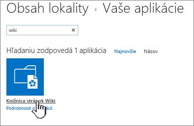 Obsah lokality so zvýraznenou dlaždicou aplikácie wiki