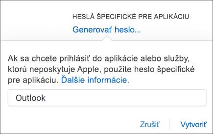 Zadajte názov hesla aplikácie