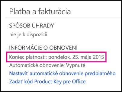 Podrobnosti o predĺžení predplatného na stránke konta služieb Office 365.