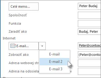 Pridanie ďalšej e-mailovej adresy kontaktu