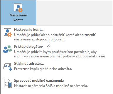 Možnosti dostupné pri výbere nastavení konta v Outlooku