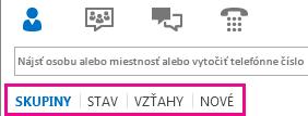 Snímka obrazovky so zvýraznenými kartami zobrazenia v hlavnom okne Lyncu pod oblasťou vyhľadávania