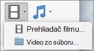 Snímka obrazovky zobrazuje v prehliadači film a video zo súboru možnosti z rozbaľovacieho zoznamu ovládacieho prvku Video. Vyberte možnosť, ak chcete vložiť video do prezentácie programu PowerPoint.