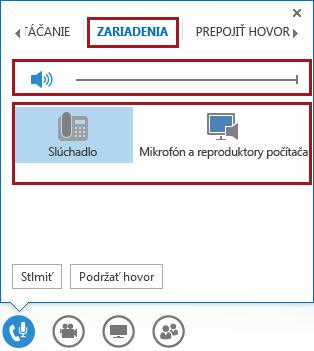 Snímka obrazovky sponukou zvuku počas schôdze