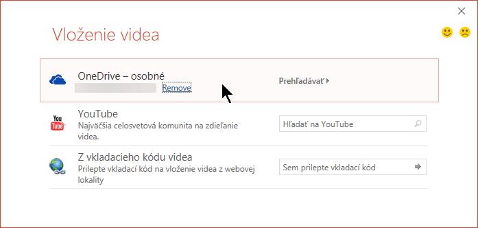 V dialógovom okne Vložiť video sa nachádzajú možnosti pre YouTube, Facebook a OneDrive.