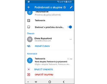 Podrobnosti oskupine sprepojením na spustenie OneNotu