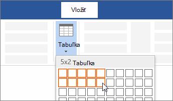 Vloženie tabuľky potiahnutím výberu niekoľkých buniek
