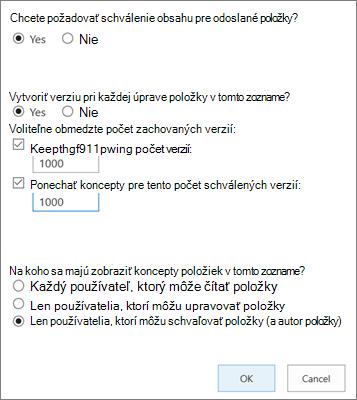 Možnosti nastavenia zoznamu v SharePointe Online, zobrazujúce povolené vytváranie verzií