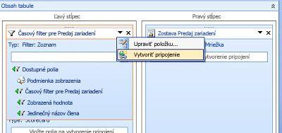 Snímka obrazovky s možnosťou pripojenia na vytvorenie ponuky