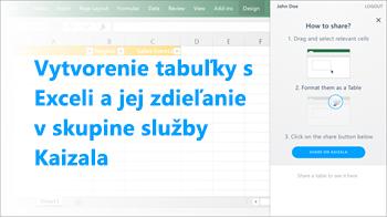 Snímka obrazovky: Vytvorenie tabuľky v Exceli a jej zdieľanie v skupine služby Kaizala