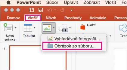 Zobrazuje príkaz Vložiť > Obrázky > Obrázky zo súboru v PowerPointe 2016 pre Mac