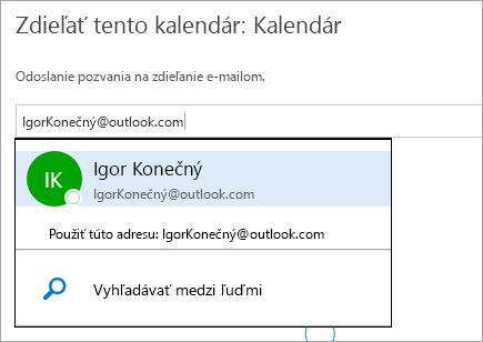 Snímka obrazovky dialógového okna Zdieľanie kalendára v službe Outlook.com.