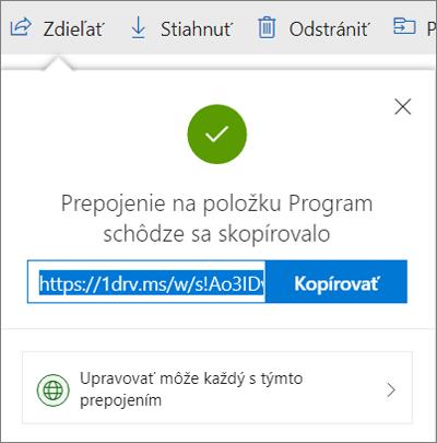 Potvrdenie kopírovania prepojenia pri zdieľaní súborov cez prepojenie vo OneDrive