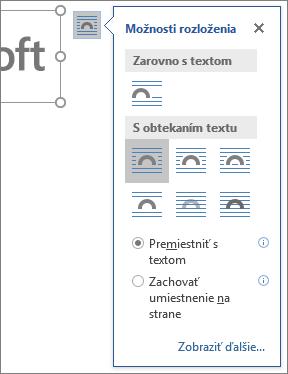 Kliknite na tlačidlo Možnosti rozloženia avyberte, akým spôsobom bude text zalomený okolo vloženého obrázka.