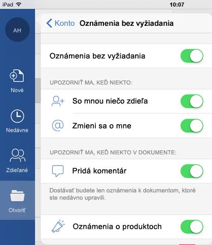 Ťuknutím na tlačidlo profil nakonfigurujete oznámenia push pre zdieľané dokumenty