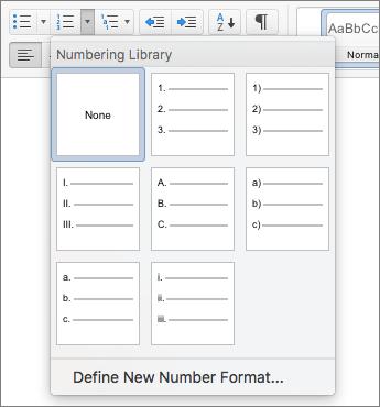 Snímka obrazovky s možnosťami štýlov číslovania
