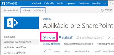 Prepojenie Nová aplikácia vknižnici Aplikácie pre SharePoint vkatalógu aplikácií