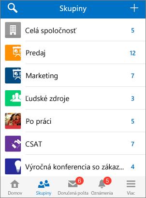 Snímka obrazovky so skupinami v mobilnej aplikácii Yammer