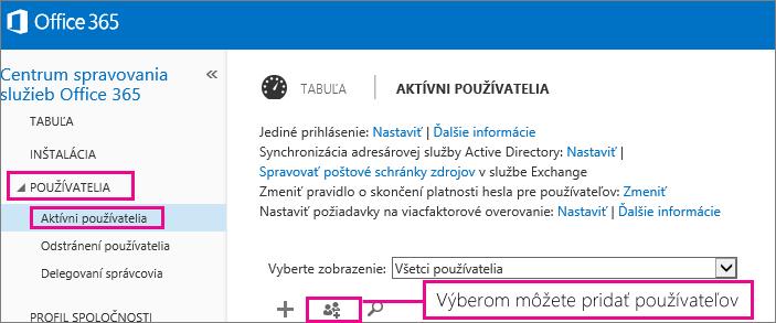 Obrázok časti Používatelia vCentre spravovania služieb Office 365