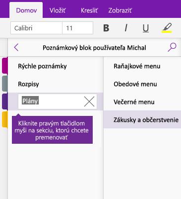 Snímka obrazovky premenovania sekcie vo OneNote