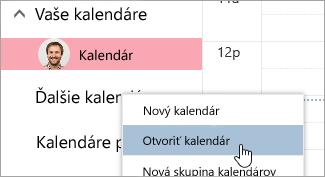 Snímka obrazovky s možnosťou otvoriť kalendár