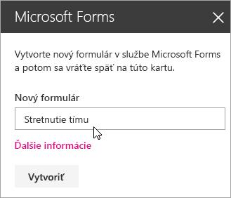 Panel webovej časti služby Microsoft Forms pre nový formulár.