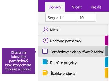 Snímka obrazovky so zoznamom poznámkových blokov vo OneNote