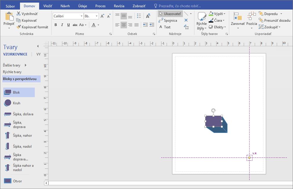 Vo vzorkovnici Bloky s perspektívou presuňte tvar na stranu s kresbou.