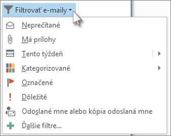 Filtrovať e-maily