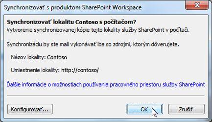 Synchronizovať s počítačom dialógové okno
