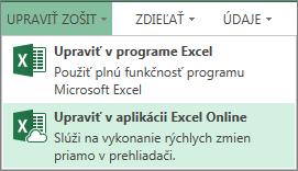 Položka Upraviť vaplikácii Excel Online vponuke Upraviť zošit