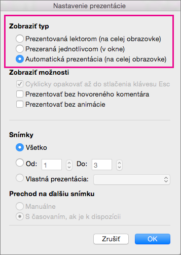 Možnosti pre Typ prezentácie