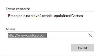 Dialógové okno text prepojenia programu Word Mobile