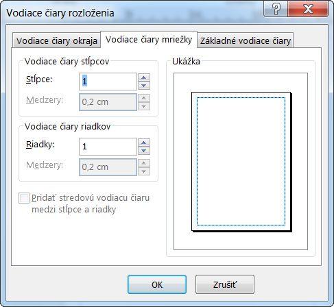 Vodiace čiary rozloženia programu Publisher so zobrazenými vodiacimi čiarami mriežky