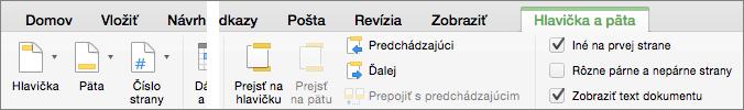 Po dvojitom kliknutí do hlavičky alebo päty Word zobrazí kartu Hlavička a päta.