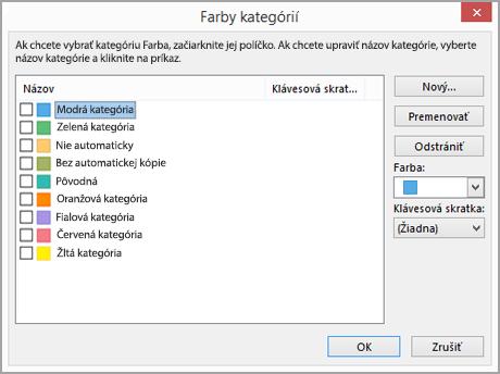Dialógové okno Farby kategórií