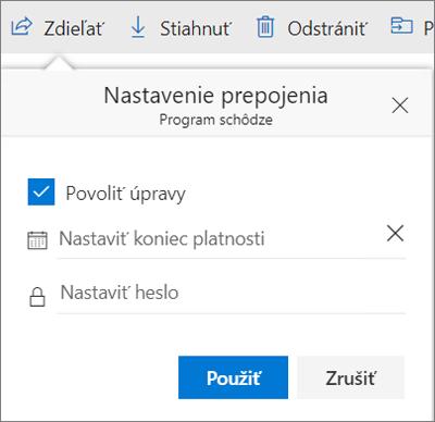 Možnosti nastavení prepojenia na zdieľanie súboru vo OneDrive