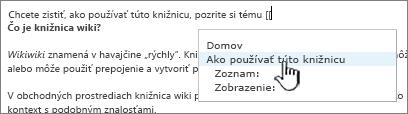 Vloženie prepojenia na lokalitu wiki