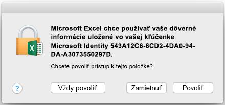 Výzva týkajúca sa kľúčenky v Office 2016 pre Mac