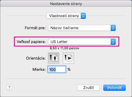 Vyberte veľkosť papiera alebo vytvorte vlastnú veľkosť tak, že ju vyberiete v zozname Veľkosť papiera.