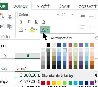 Výber inej farby textu