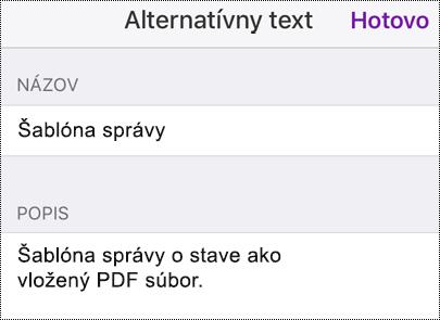 Pridanie alternatívneho textu k vloženému súboru vo OneNote pre iOS