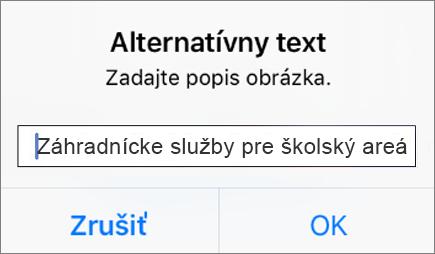 Alternatívny text pre ponuku obrázka vOutlooku pre iOS