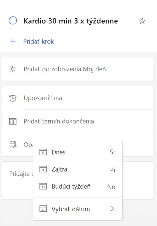 Snímka obrazovky zobrazujúca Podrobnosti Zobraziť s pridať termín dátum vybratý.