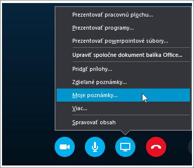 Snímka obrazovky s postupom zdieľania poznámok OneNotu 2016 v Skype for Business.